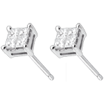 Checker-board Stud Earrings white gold paved - 0.34 carat