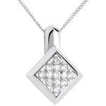 Checkerboard necklace white gold paved - 0.25 carat