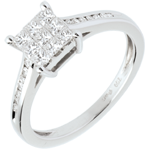 women Checkerboard Ring white gold paved - 0.48 carat