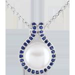 Ciondolo Adelia - Oro bianco - 9 carati - 31 Zaffiri - 1 Perla - 7.75 carati