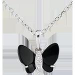Ciondolo Chiaroscuro - Farfalla in Onice - Oro Bianco - Diamanti