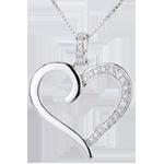 oreficeria Ciondolo Cuore Amazzone - Oro bianco - 9 carati - 5 Diamanti