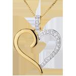Ciondolo Cuore Amazzone - Oro bianco e Oro giallo - 18 carati - 5 Diamanti