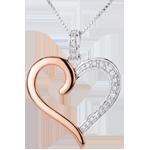 regalo Ciondolo Cuore Amazzone - Oro bianco e Oro rosa - 18 carati - 5 Diamanti