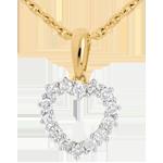 Ciondolo Cuore diamanti - Oro giallo - 18 carati - 14 Diamanti - 0.25 carati