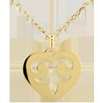 Ciondolo Cuore incantato - Oro giallo - 9 carati