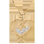 compra on-line Ciondolo Cuore e scintille - Oro giallo - 18 carati - 4 Diamanti