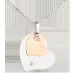 Ciondolo Cuori Moderni - Oro rosa e Oro bianco - 18 carati - Diamante
