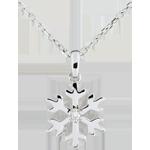 comprare on-line Ciondolo Fiocco d'inverno - Oro bianco - 9 carati - 1 Diamante