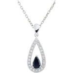 Ciondolo - Goccia Soraya - Oro bianco - 9 carati - 24 Diamanti - Zaffiro blu