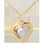 Ciondolo illusione di cuori - Oro bianco e Oro giallo -9 carati - 1 Diamante