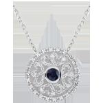 Ciondolo Kiona - Oro bianco - 9 carati - 8 Diamanti - Zaffiro - 0.25 carati