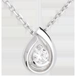 Ciondolo Lacrima diamante - Oro bianco - 18 carati - Diamante - 0.21 carati