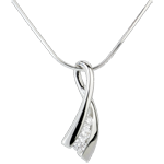 Ciondolo Nido Prezioso - Nodo illusione - Oro bianco - 18 carati - 3 Diamanti - 0.158 carati