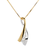 regalo donna Ciondolo Nodo Illusione - Oro bianco e Oro giallo - 18 carati - 3 Diamanti - 0.16 carati