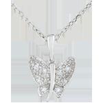 Ciondolo Passeggia Immaginaria - Farfalla Musicista - Oro bianco - 9 carati - Diamanti