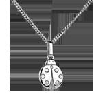 Coccinella - modello piccolo - Oro bianco - 18 carati - Diamante