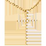 Colgante cruz empedrado oro amarillo - 17 diamantes