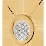 Colier alcov din aur galben de 18K pavat - 19 diamante