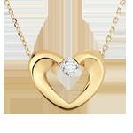Colier inimă drăguţă aur galben de 9K şi diamant - 45cm