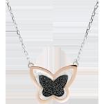 Colier Plimbare Imaginară - Fluture Lunar - aur alb şi aur roz de 9K şi diamante negre