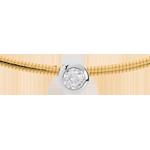 Collana Cable punto luce diamante - Oro bianco e Oro giallo - 18 carati - Diamante - 0.19 carati