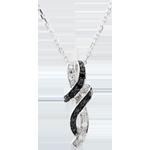 Collana Chiaroscuro - Incontro - Oro bianco - 9 carati - Diamante bianchi e diamanti neri