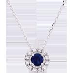 gioielli oro Collana Clevia - Oro bianco - 9 carati - 12 Diamanti - Zaffiro
