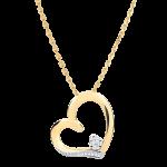 Collana Cuore Amore - Oro bianco e Oro giallo - 18 carati - 1 Diamante