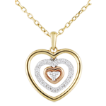 Collana Cuore Concentrico - 3 Ori - 18 carati - 21 Diamanti