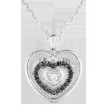 Collana Cuore Impronta - Oro bianco - 9 carati - Diamanti neri - Diamante bianco