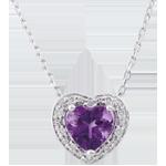 Collana Cuore Incantato - Oro bianco - 18 carati - 10 Diamanti - Ametista - 0.75 carati