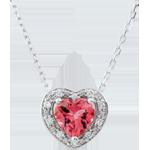 donna Collana Cuore Incantato - Oro bianco - 18 carati - 10 Diamanti - Topazio rosa - 0.83 carati