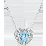 gioiellerie Collana Cuore Incantato - Oro bianco - 9 carati - 10 Diamanti -Topazio blu - 0.97 carati
