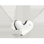 Collana Cuori Dolcezza - Oro bianco - 9 carati - Diamante