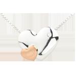 Collana Cuori Dolcezza - Oro bianco e Oro rosa - 18 carati - Diamante