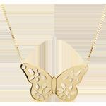 Collana Farfalla Merlettata - Oro giallo - 9 carati