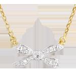 regalo uomo Collana Fiocco dell'Eden - Oro bianco e Oro giallo - 9 carati - 5 Diamanti