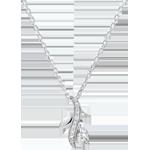 Collana Foresta Misteriosa - Oro bianco e Diamante navetta - 9 carati
