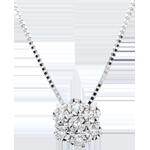 Collana Freschezza - Fiore di Fiocco - Oro bianco - 9 carati - 7 Diamanti
