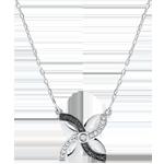 gioiello Collana Freschezza - Giglio d'estate - Oro bianco - 9 carati - Diamanti neri