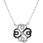 Collana Freschezza - Quadrifoglio Arabesco - Oro bianco - 9 carati - Diamanti bianchi e diamanti neri
