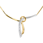 Collana Liana - Oro giallo e Oro bianco pavé - 3 Diamanti