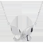 Collana Passeggiata Immaginaria - Farfalla a cascata - Oro bianco - 9 carati - Diamanti