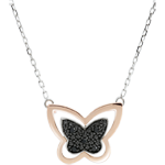 regali Collana Passeggiata Immaginaria - Farfalla Lunare - Oro rosa - 9 carati - Diamanti neri