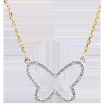 Collana Passeggiata Immaginaria - Farfalla Nuvola - due ori - 9 carati - Diamanti - 0.256 carati