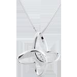 Collana Passeggiata Immaginaria - Fiocco di Farfalla - Oro bianco - 9 carati - Diamante