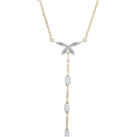 Collana Soffio Leggero - Oro bianco e Oro giallo - 9 carati - 3 Diamanti