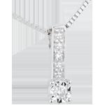 Collana Solitario Thémis - Oro bianco - 9 carati - Diamanti