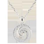 Collana Spirale d'amore - Oro bianco - 9 carati - 24 Diamanti - 0.12 carati